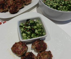 Red Curry Pork Balls with Cucumber Dipping Sauce