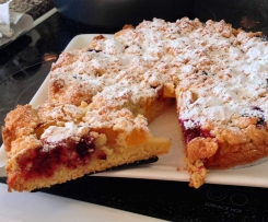 Peachberry Crumble Cake - low gluten, dairy free Serves 10-12 3cm slices