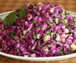 Red Cabbage, Pear and Coriander Salad