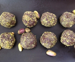Pistachio and prune truffles