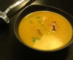 Pumpkin, Coconut and Scallop Soup