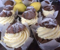 Chocolate Lemon Cupcakes with Lemon Whipped Cream