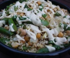 Asparagus, Chickpea and Brown Rice Salad with Tahini dressing
