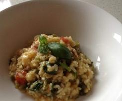 Broccollini, basil, tomato & bacon Risotto for 2