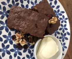 Red Wine Brownies with Walnuts and Drunken Cranberries