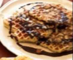 Coconut Waffles with Coconut Choc Sauce