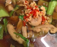 Oriental poached chicken and bok choy soup