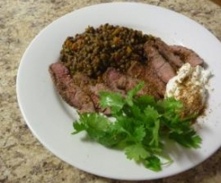 Lamb Backstrap with Spiced Lentil Ragout