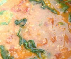 Indian Style Dhal with spinach & tomatoes