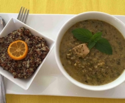 Thai Aromatic Herb Chicken Served With Cumquat Quinoa