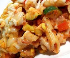 Variation Butternut pumpkin and vegetable macaroni cheese pasta bake