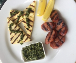 Pesto with Grilled Haloumi