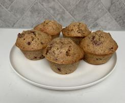 Raspberry, yoghurt and oat muffins