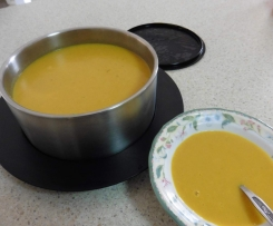 Pumpkin and Potato Soup with Curry and Bacon