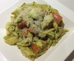 Penne with Rocket and Basil Pesto, Avocado, and Tomatoes
