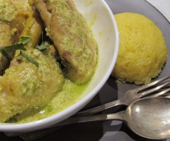 gulai lemak ayam (rich curry chicken) with turmeric sticky rice