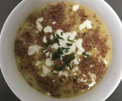Cauliflower, Zucchini & Leek Soup with Bacon Dust & Goats Cheese