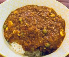 Curried mince with rice