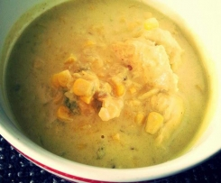 CHICKEN, CORN AND COCONUT CURRY SOUP (cold killer)