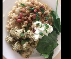 Chermoula marinated chicken with moroccan beans and quinoa