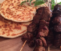 Redcurrant BBQ lamb skewers with super-easy flatbreads