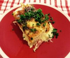 Potato, ham and cheese lasagne