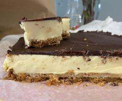 Passionfruit marshmallow dark chocolate slice.