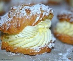 Cream puffs with lemon vanilla cream filling.
