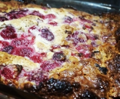 White chocolate and raspberry self saucing pudding
