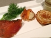 Blini with Gravalax and Dill Mayonnaise