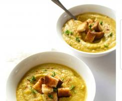 Vegan Smokey split pea and ham soup adapted from Catching Seeds