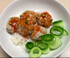Asian Insipred Pork Balls with Spicy Sauce