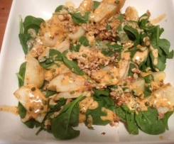 Potato and Spinach salad with smoked paprika dressing