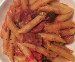 Salami capsicum and olive penne
