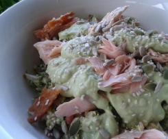 RAW BROCCOLI SALAD TOSSED WITH SMOKED SALMON, BLACK OLIVES AND CREAMY AVOCADO DRESSING