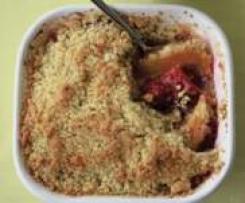 Nectarine Raspberry Summer Crumble Pudding
