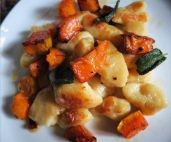 Pan fried gnocchi with roast pumpkin and a burnt sage butter