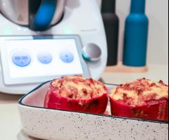 Stuffed Capsicums with Tomato, Mince & Rice