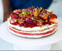 Strawberry and watermelon cake with vanilla cream (recipe by Nico Moretti)