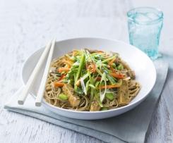 Soba noodle and tofu salad