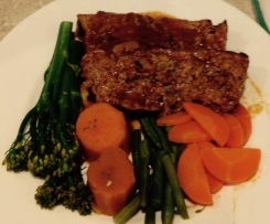 Gluten Free Meatloaf with BBQ basting sauce