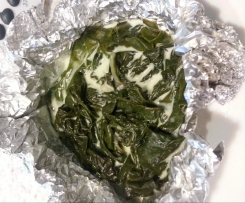 steamed silverbeet pouches in coconut cream