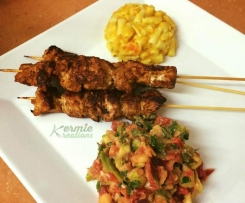 Sticky Chicken Skewers - Kermie Kreations