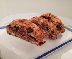 Jam and chocolate biscotti