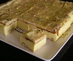 Pr's Vanilla Slice with Passionfruit Icing
