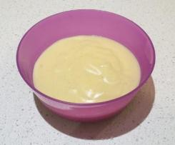 Pouring sugar-free low-fat Vanilla Custard