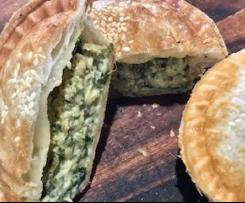 Spinach, bacon and cheese pies (pie-maker)