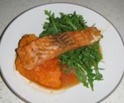 Chargrilled Salmon with Maple Syrup Marinade & Sweet Potato Mash