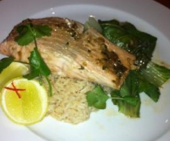 Ginger and Soy Glazed Salmon with Bok Choy and Coconut Rice