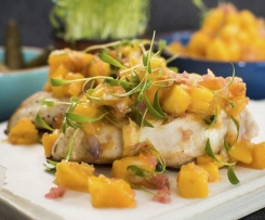 Mango salsa with lime bursts